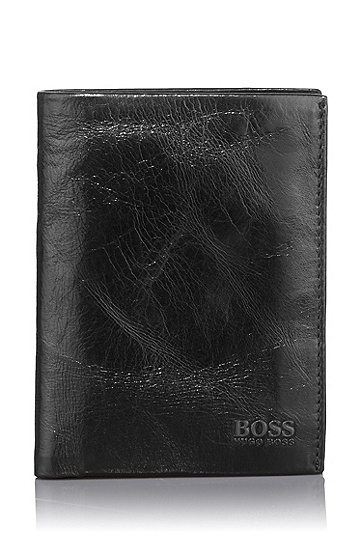 Leather wallet with coin compartment 'Pisa', Black
