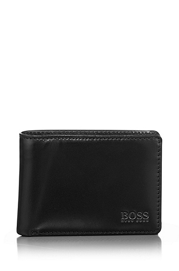 Leather wallet with coin compartment 'Mira', Black