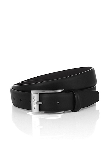 Belt with a rectangular metal buckle 'BRANDON', Black