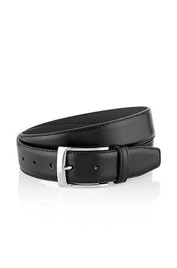 Leather belt with metal buckle 'ESILY', Black