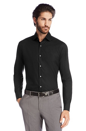 Business shirt with turn-back cuffs 'Gale', Black