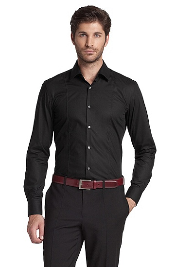 Formal shirt with Kent collar `Phillo`, Black