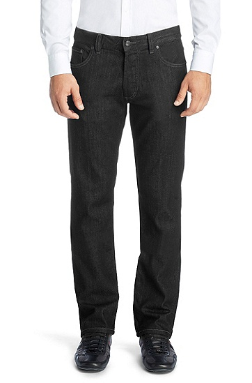 Regular Fit blended cotton jeans 'HUGO 677/8', Black