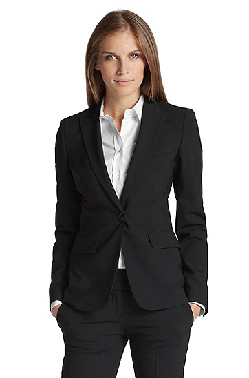 Fitted blazer in blended shorn wool ´Juicy6`, Black