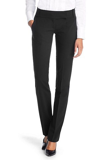 Designer trousers in blended shorn wool 'Taru5', Black