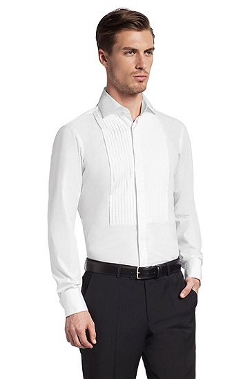 Shirt with a pintuck yoke 'ELEASAR', White