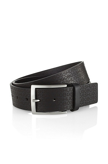 Sporty leather belt 'Sambeon', Black