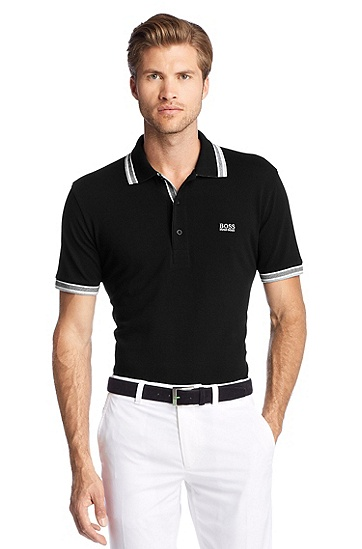 Polo shirt with stripe details 'Paddy', Black