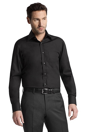 Plain dress shirt with a Kent collar 'Elton', Black