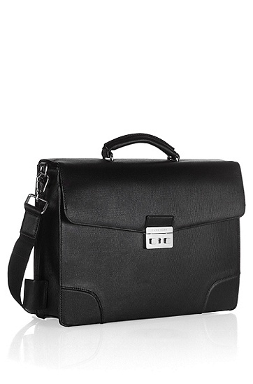Cowhide briefcase 'LAPI', Black