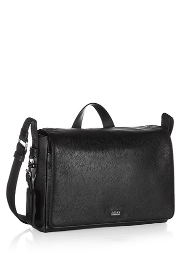 Leather messenger bag 'Basar', Black