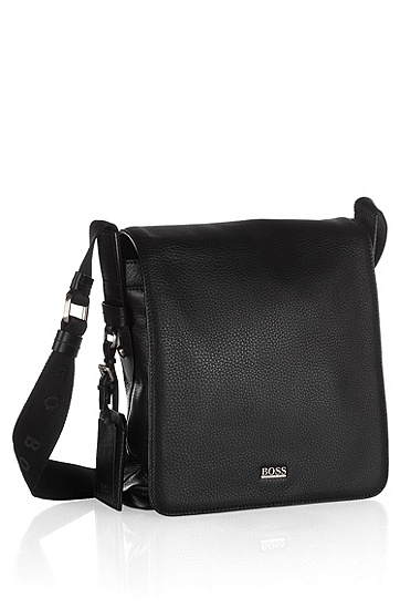 Leather reporter bag ´BEKON`, Black