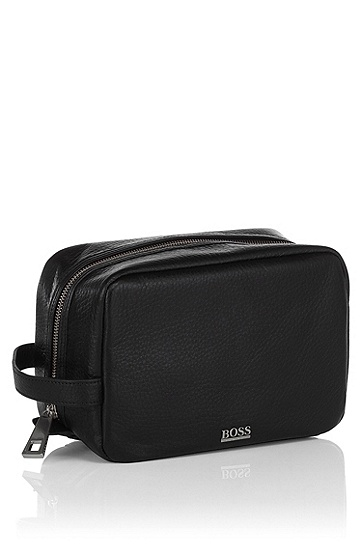 High quality, leather wash-bag ´Bombo`, Black