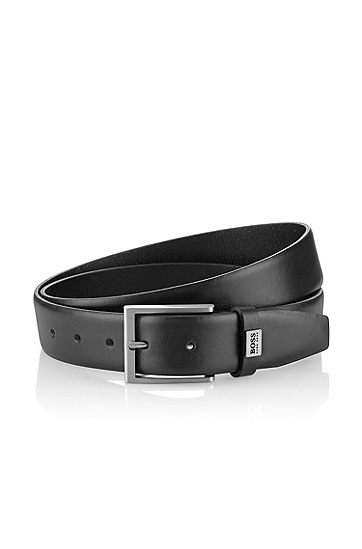 Cow leather belt  'EMBER', Black