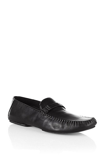 Calfskin leather moccasin slipper 'ROS', Black