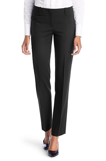 Waist-pleat dress trousers 'Toya', Black