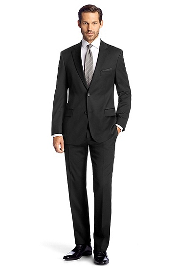 Shorn wool business suit 'Pasini2/movie2', Black