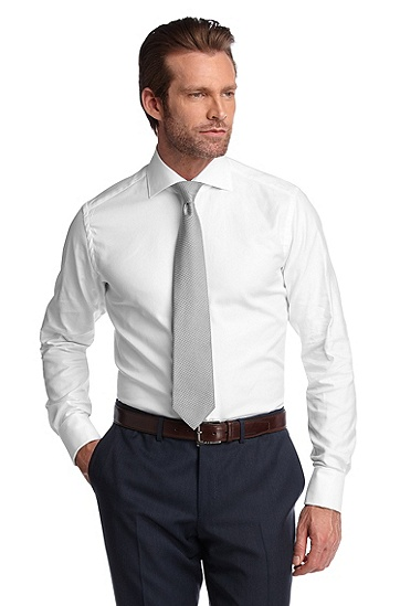 Chemise business de texture luxueuse, Webb, Blanc