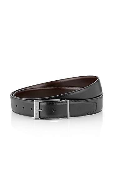 Reversible belt with two buckles 'GRAZIO', Black