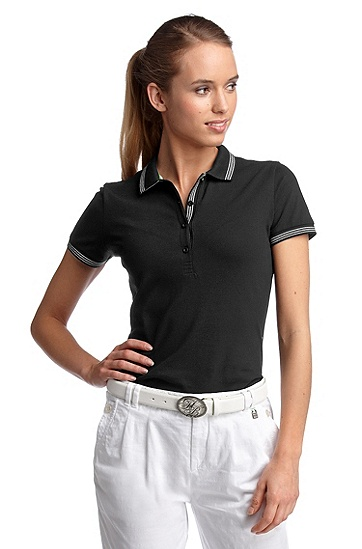 Polo shirt with decorative stripes 'Paulla', Black