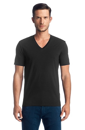 Modern cotton blend V-neck T-shirt ´Dredoso`, Black