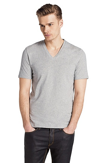 V-neck T-shirt 'Dredoso', Open Grey