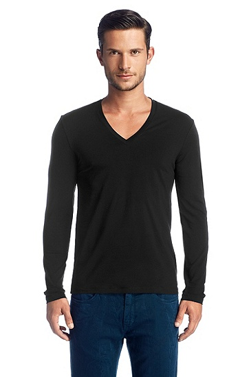 Long-sleeved V-neck T-shirt 'Dredino', Black