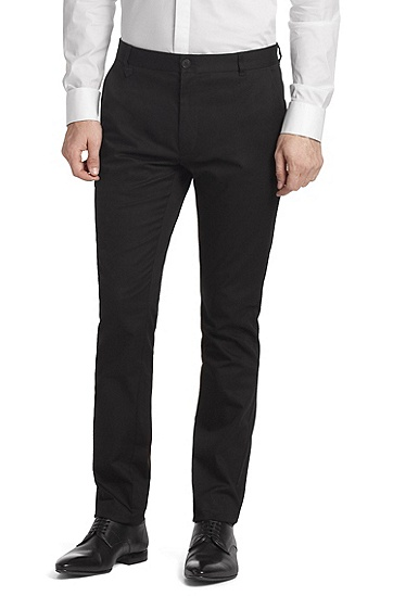 Cotton blend chinos 'Heldor', Black