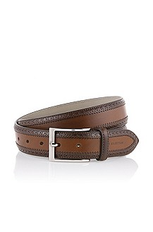 Formal belt with shiny metal buckle 'Ludovico'