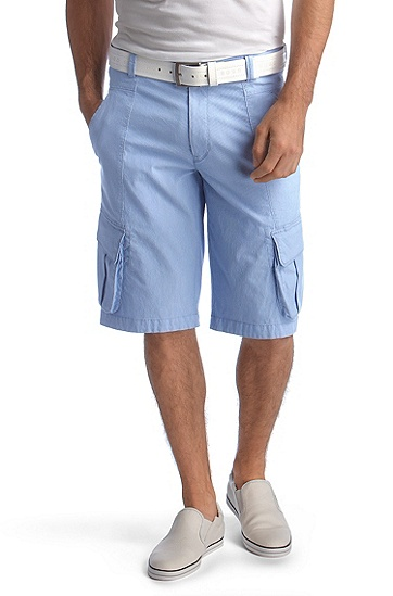 Bermudas with fine woven stripe pattern ´Lexo-W`, Bright Blue