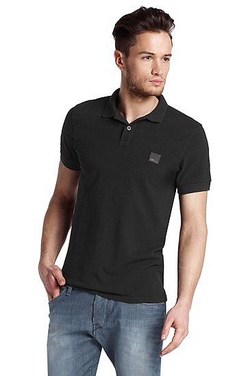 Short-sleeved cotton polo shirt 'Pascha', Black