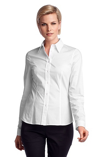 Blouse with a Kent collar 'Banu9', White