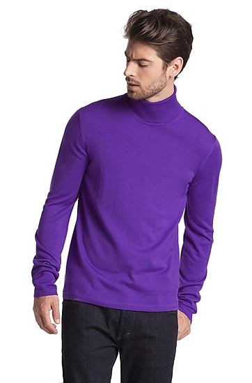 Polo neck pullover made of merino wool'Siriolan', Purple