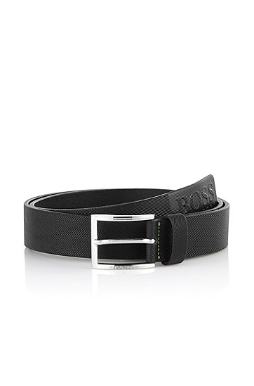 Belt with a shiny pin buckle 'Tincenzo-N', Black