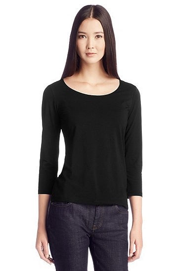 T-shirt in a stretchy cotton blend 'E4492', Black