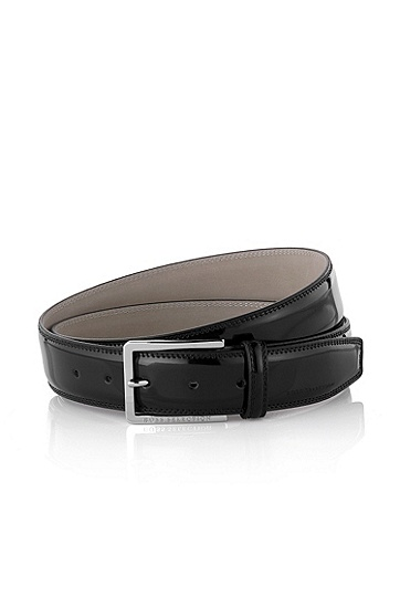Leather belt with square buckle ´Lisandro-N`, Black