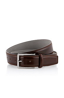 Leather belt with square buckle ´Lisandro-N`