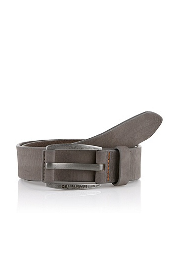 Nubuck cowhide leather belt 'BAKABA', Grey