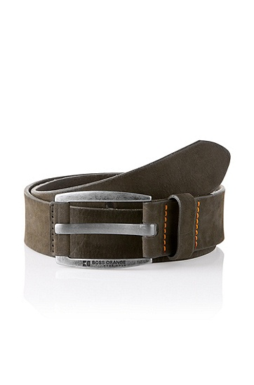 Nubuck cowhide leather belt 'BAKABA', Khaki
