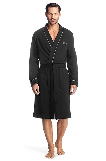Pure cotton bathrobe 'Kimono BM', Black