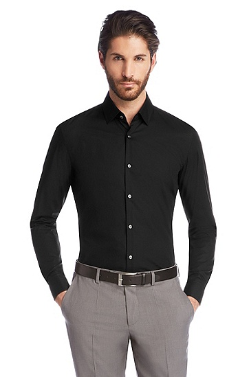 Slim fit business shirt 'Jacques', Black