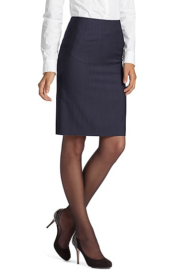 Viscose and new wool pencil skirt 'Valas1', Open Blue
