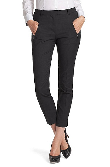 Stretch trousers with zip pockets 'Anaita', Black