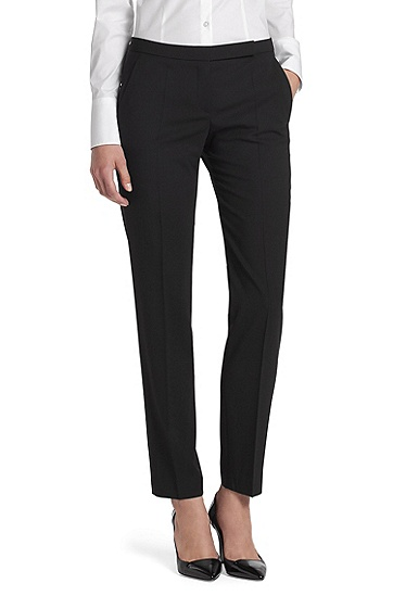 Business trousers in blended new wool 'Harile-1', Black