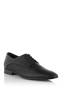 Lace-up shoe in embossed calfskin leather 'Black