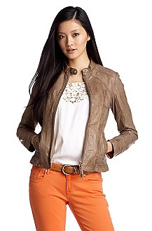 Leather jacket with a stand-up collar 'Janissa'
