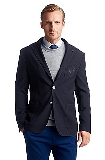 Tailored jacket made from new wool with an embro