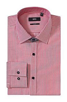 Slim fit business shirt with woven stripes 'Jask