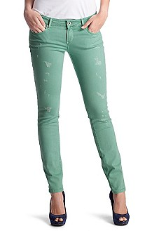 Jeans ´Lunja1 mint` met destroyed-elementen