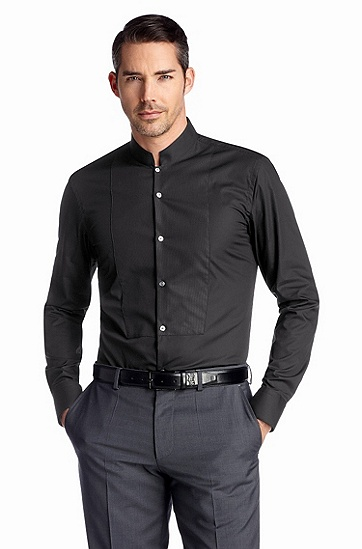 Slim fit occasion shirt, stand-up collar 'Jemil', Black